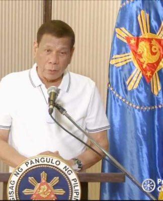 Rodrigo Duterte durante el discurso televisado el miércoles en la noche (Captura de pantalla)